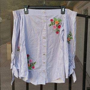Blue Striped Embroidered Blouse